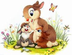 Thumper w his Momma & Sister Bambi Disney, Disney Babys, Arte Disney, Disney Love, Disney Art, Illustration Mignonne, Cute Illustration, Animal Drawings, Cute Drawings