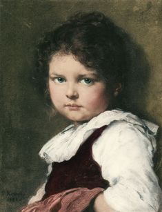 Head of a Girl - Ludwig Knaus - (German, 1829 - 1910)
