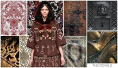 Original Art Surface Inspiration, Women's, F/W 2015-16, the royals / The hand drawn style to our graphics adds a great feminine touch to this otherwise dark and medieval trend, which is strengthened by the addition of Cautionary Tale florals and Damask wallpaper prints.