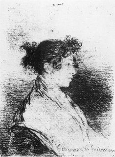 """Francisco de Goya, Fuendetodos, Spain, (1746–1828). Spanish romantic painter and printmaker. the last of the old masters and the first of the moderns. """"Gumersinda Goicoechea"""", Goya's Daughter-in-Law (1815). Sketch drawing. Black chalk on paper. 110x82mm. Carderera Collection, Madrid, Spain."""