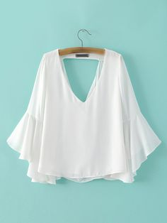 White+Low+Neck+Bell+Sleeve+Hollow+Blouse+18.99