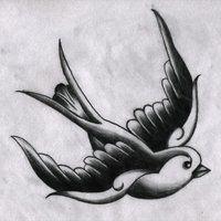 tattoo key swallow sparrow ribbon photo: Traditional Swallow (B&W ...