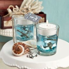 Nautical-Themed Gel Candle Holder with Anchor Design