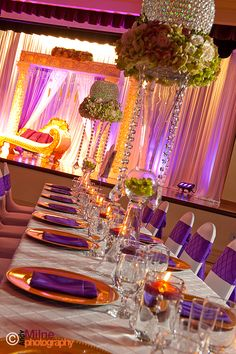 Elaborate tall, crystal centerpiece being reused at the reception AFTER being used at the ceremony (See Wedding Ceremonies: White Archway with columns)