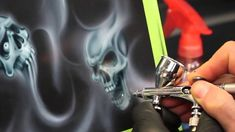 In this video you will learn how to create this particular smoke flames and skulls artwork using freehand templates and freehand airbrush techniques. Smoke Painting, Air Brush Painting, Spray Painting, Painting Tools, Car Painting, Custom Motorcycle Paint Jobs, Custom Paint Jobs, Airbrush Skull, Brush Tattoo