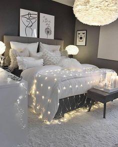 Image about black in Decoration by Mouna DramaQueen Grey Bedroom Decor, Glam Bedroom, Bedroom Decor For Teen Girls, Cute Bedroom Ideas, Room Design Bedroom, Girl Bedroom Designs, Room Ideas Bedroom, Home Bedroom, Cozy Room