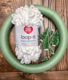 Loop Yarn Wreath - An EASY DIY Winter Wreath! - The Navage Patch This beautiful loop yarn wreath is so simple to make! It's an easy DIY winter wreath that can be made in minutes by adults and kids alike! Wreath Crafts, Diy Wreath, Christmas Projects, Holiday Crafts, Christmas Holidays, Christmas Decorations, Diy Crafts, Christmas Ornaments, White Wreath