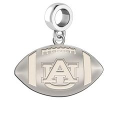 """Auburn Tigers Dangle Charm  Football dangle charms designed to fit all beaded style charm bracelets. Solid sterling silver charms designed for everyday wear.  Solid Sterling Silver  Officially Licensed  Charm size is 1/2"""""""