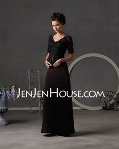 Sheath V-neck Floor-Length Satin Mother of the Bride Dresses With Lace Beading (008002216) - JenJenHouse.com