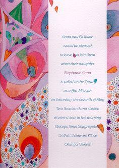 Abstract Star Bat Mitzvah Invitation by popular artist Shell Rummel!  #Invitation #shellrummel
