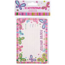"""Happy Birthday"" Butterfly Party Invitations with Envelopes, 10-ct. Packs"