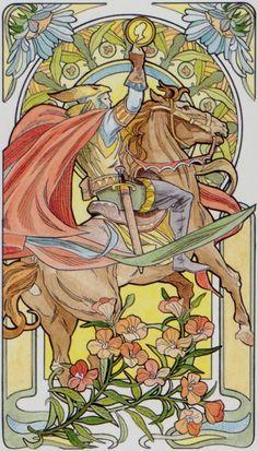 Le cavalier d'écus - Tarot art nouveau par Antonella Castelli