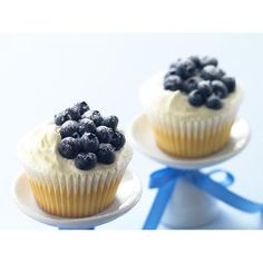 Blueberries and cream cupcakes recipe - By Australian Women's Weekly, Celebrate any occasion with these stunning blueberry cupcakes.