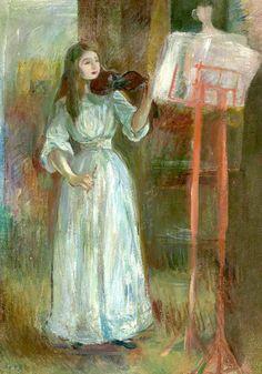 bofransson:  BERTHE MORISOT (1841-1895) Julie Manet Jouant Au Violon En Robe Blanche