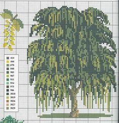 Borduurpatroon Bloem- Plant- Dier *Cross Stitch Flower- Plant- Animal ~Treurwilg *Willow tree~