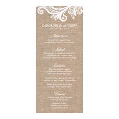Summer Wedding Menu Burlap and Lace Wedding Menu Cards