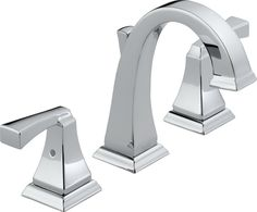 Transform the look of your bathroom with this stunning lavatory set from the Dryden line by Delta Faucets. The sleek form paired with the polished nickel finish makes this two-handle widespread lavatory faucet practical as well as stylish. Best Bathroom Faucets, Widespread Bathroom Faucet, Lavatory Faucet, Bathroom Fixtures, Bathroom Hardware, Vanity Faucets, Bathroom Plumbing, Brass Faucet, Concrete Bathroom