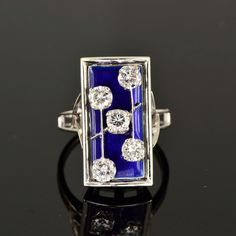 Art Deco gorgeous diamond and blue enamel Cusi ring, c. 1940s