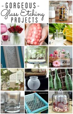 13 Gorgeous Glass Etching Projects - for home decor, gifts, and more!