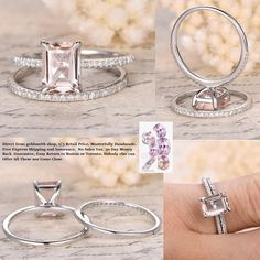 Emerald Cut Morganite Engagement Ring Sets Pave Diamond Wedding 14K White Gold 6x8mm