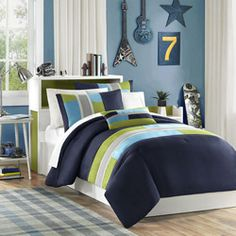 @Overstock - Switch is a casual comforter that offers a bit of an urban feel. The navy blue is pieced with khaki, teal, and green micro-fiber. There is added twill tape details, along with top stitching that adds design and value.         http://www.overstock.com/Bedding-Bath/Mizone-Switch-4-piece-Comforter-Set/7110759/product.html?CID=214117 $49.99