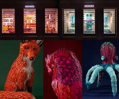Escaparates de la marca Hermés muy coloridos, rellenos de animales impresionantes
