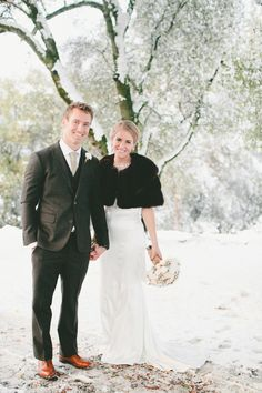 A Vintage Fur Cape for a Romantic Winter Wedding in the Snow from OneLove Photography