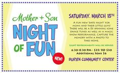mother and son school dance ideas | Burien Parks' 'Mother & Son Night of Fun' event will be held at ...