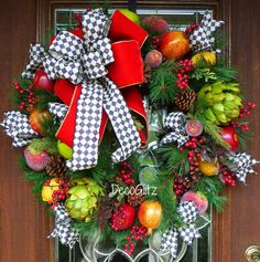 MACKENZIE CHILDS Inspired Christmas Wreath with by decoglitz