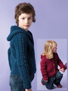 Knit this childrens hooded cardigan, designed exclusively for Knitrowan by Sarah Hatton. Using our wonderfully soft, machine washable worsted weight yarn Pure Wool Worsted (wool), this cosy cardigan has an all over cable design and set-in sleeves.
