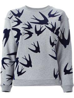 Mcq Alexander Mcqueen Swallow Flock Print Sweatshirt - Jofré - Farfetch.com