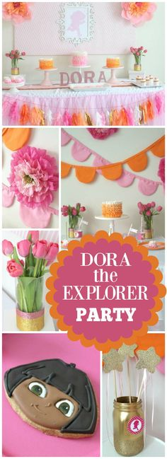 How pretty is this pink and orange Dora birthday party?! See more party ideas at CatchMyParty.com!