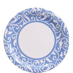 Pastel Blue Ornamental Scroll Lunch Plates 8ct - Party City