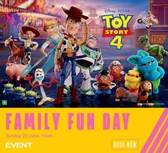 Toy Story 4 : Family Fun Day! | Event Cinemas  Sun 23 Toy Story 4 Cast, Toy Story 3 Movie, Toy Story 1995, 2 Movie, Bo Peep Toy Story, Jessie Toy Story, Transformers 4, Family Fun Day, Movie Collection