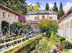 Patio De La Acequia Generalife Granada Painting