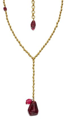 Pippa Small. 18kt Gold, Lariat Drop Necklace in Pink Tourmaline. POA