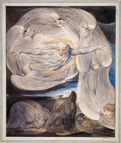 "William Blake: ""Job Confessing His Presumption to God..."" (c. 1803-05). Illustration for the Bible (Old Testament), object 1 (Butlin 461). Pencil, pen and ink, and water color. National Gallery of Scotland, Edinburgh, UK"