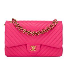 Chanel Fuchsia Chevron Jumbo Classic Double Flap Bag
