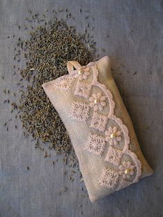 Lavender sachet with light pink lace