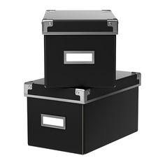 """KASSETT Box with lid - black, 6 ¼x10 ¼x6 """" - IKEA"""