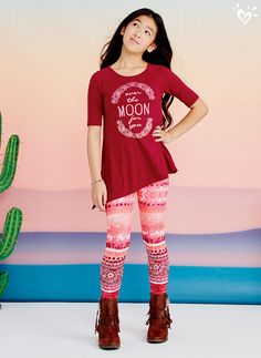 Our standout leggings and made-to-match tops add an extra something special to her closet this season!
