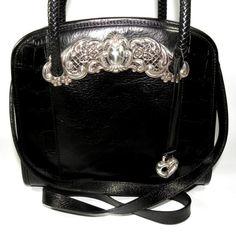 NEW LISTING!! ~~ BRIGHTON Purse Black Leather Vintage Purse with by newprairiestore Brighton Purses, Brighton Handbags, Vintage Purses, Vintage Bags, Beaded Bags, Chantilly Lace, Coach Handbags, Hand Bags, Fashion Handbags