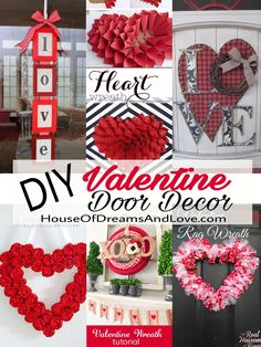 These easy and festive DIY Valentine's Day wreaths and door decorations are pretty and fun. Step-by-step instructions and pictures are included.