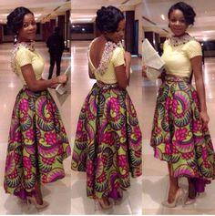 Cute Cropped Top and High waisted hi-low skirt ~DKK ~African fashion, Ankara, kitenge, African women dresses, African prints, African men's fashion, Nigerian style, Ghanaian fashion.