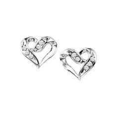 Diamond Heart Post Earrings in Sterling Silver.  Rhodium-plated to prevent tarnishing.  Ref# GEM-FE1133.  Goldex Fine Jewelry ~ (323) 726-7181.