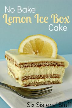 No Bake Lemon Ice Box Cake from SixSistersStuff.com.  Ingredients:  2 (3.5 oz) packages instant lemon pudding mix  1 (8 0z) container Cool-Whip  3 cups milk  1 (16 oz) package graham crackers  Lemon Frosting:  1/2 cup butter, softened  1-2 cups powdered sugar  2 tablespoons milk  2 tablespoons lemon juice