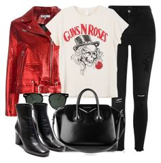 """Guns N Roses"" by monmondefou ❤ liked on Polyvore featuring River Island, IRO, MadeWorn, Spitfire, Givenchy, black and red"
