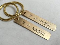 Personalized Gift for couples keychain, Gold couples keychain, his hers roman…