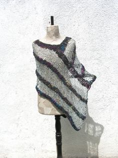 Boho women poncho hand knitted  Gypsy clothing  by woollinen