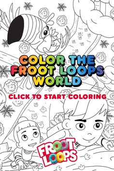 Follow your nose with Toucan Sam and help your kids color in the Froot Loops World. Check out more fun activities and recipes on our Pinterest page Free Adult Coloring, Coloring Pages For Kids, Old Cartoon Shows, Toy Room Organization, Diy Clothes Life Hacks, Froot Loops, Graffiti Lettering Fonts, Rainbow Loom Bands, Free Cross Stitch Charts